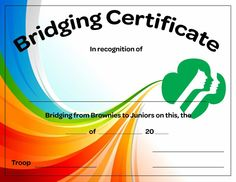 Brownies to Juniors Bridging Certificate - Free Download