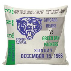 Football Pillow Burlap Cotton Throw Pillow by ElliottHeathDesigns Chicago Bears vs Green Bay Packers