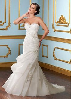 STUNNING ORGANZA SATIN MERMAID TRUMPET NECKLINE WEDDING DRESS WITH BEADED LACE APPLIQUES HANDWORK FLOWERS