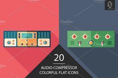 Audio compressor flat icon set. #multimedia #multimediaicons #flaticons #vectoricons #flatdesign