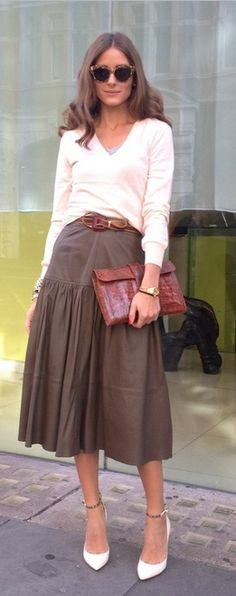 brown midi skirt perfection by Olivia Palermo Twirling Clare
