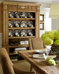 ALL-AMERICAN ALLURE: SANDRA LEE AND ANDREW CUOMO'S HOME:     In the dining room, a Restoration Hardware cabinet holds a collection of Spode transferware.