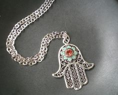 Esther Necklace Hamsa Hand Evil Eye Pendant Aqua Coral Silver Chain FREE SHIPPING. $55.00, via Etsy.