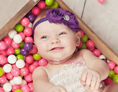 Baby Headband..Baby Flower Headband..Purple by whisperbugboutique