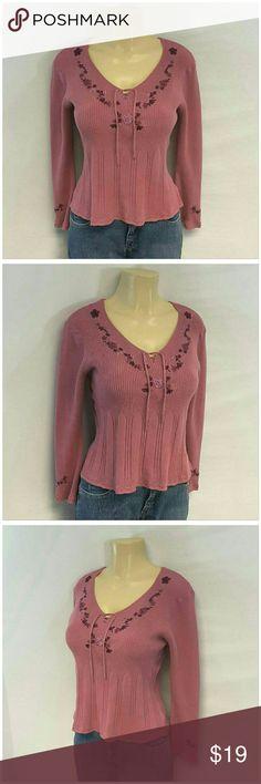WORTHINGTON Fancy Knit Sweater Top size Large WORTHINGTON, Fancy Knit Sweater Top, size Large See Measurements, lace up neckline, embroidery neckline and sleeve hems, short stretch, machine washable Worthington Tops