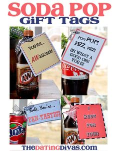 Soda Pop Gift Tags A quick and easy way to make today special for your spouse by grabbing their favorite soda pop and attaching a free printable gift tag. Employee Appreciation Gifts, Employee Gifts, Volunteer Appreciation, Staff Gifts, Teacher Gifts, Candy Bar Sayings, Secret Pal, Secret Santa, Free Printable Gift Tags