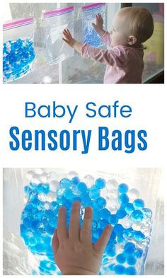 Safe Sensory Play for Babies! Sensory Bags keep small parts (and big messes) contained, so baby can enjoy sensory play!