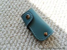 100% hand stitched handmade turquoise cowhide leather key purse/ holder/ case