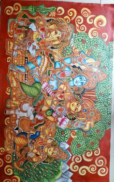 Kalamkari Painting, Krishna Painting, Madhubani Painting, Buddha Kunst, Buddha Art, Kerala Mural Painting, Indian Art Paintings, Indian Art Gallery, Indian Folk Art