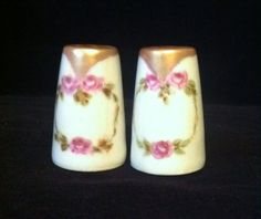 Vintage Mini Salt and Pepper Shakers with a Pink Rose Design