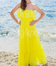 #Bohemiandresses #Chiffondresses #Straplessdresses #YellowDresses #beachdresses #chiffonholidaydresses