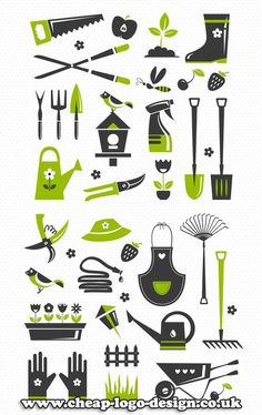 gardening icons - inspiration for landscape gardening logo design www.cheap-logo-design.co.uk #gardeningicons #landscapegardeninglogo #gardenerlogo
