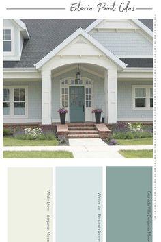Exterior Paint Color Combinations, House Exterior Color Schemes, White Exterior Houses, House Paint Color Combination, Exterior Paint Colors For House, Exterior Trim, Paint Colors For Home, Modern Exterior, Outside House Paint Colors