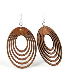 Another great find on #zulily! Brown Oval Offset Drop Earrings by Green Tree Jewelry #zulilyfinds