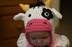 Free Crochet Hat Patterns | Easy Crocheted Hat Patterns | Free,  this cow hat is too cute!