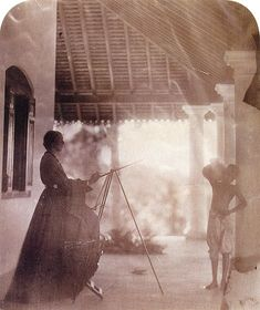 Marianne North in Mrs Cameron's house in Ceylon, c. Marianne North painting a Tamil boy in Ceylon, (Photograph by Julia Margaret Cameron) Botanical Art, Botanical Illustration, Marianne North, Julia Margaret Cameron, Victorian Photography, Johann Wolfgang Von Goethe, Famous Photographers, Charles Darwin, Kew Gardens