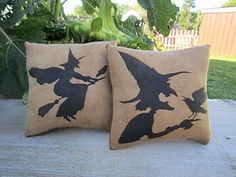 witches on pillows...