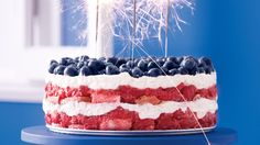 This dessert would be right at home at a Fourth of July barbecue. Strawberries can be substituted for raspberries.