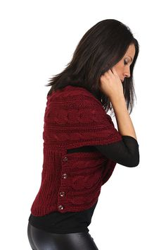 Hand Knit Bordeaux Vest Cross Knit Wrap Cross Vest Knit by Portuli