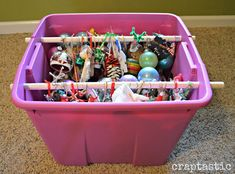 DIY Ornament Organizing Hacks- Organizing your Christmas decorations doesn't have to be difficult, or expensive. This year, give these clever Christmas decoration storage hacks a try! Christmas Storage, Diy Christmas Ornaments, Christmas Decorations, Holiday Decor, Holiday Ideas, Christmas Ideas, Cheap Christmas, Christmas Stuff, White Christmas