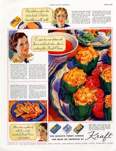 1936 Kraft Cheese: Velveeta, American, Philadelphia Cream Cheese, Creamed Old English Cheese. The advertisement gives recipes for an Autumn Platter and Kraft Cheese Straws #1930s #food #cheese #thenuttypinner