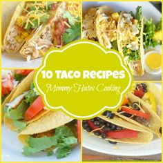 Recipes - 10 Taco Recipes I Mommy Hates Cooking It's time to celebrate the perfect night for tacos with these 10 Taco Recipes. This is a great way to keep tacos fresh and not boring! Make Ahead Freezer Meals, Freezer Cooking, Quick Meals, Easy Healthy Recipes, Gluten Free Recipes, Mexican Food Recipes, Dinner Recipes, Mexican Meals, Lunch Recipes