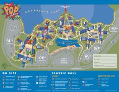 Pop Century Resort map. This is the Disney Resort I want to stay at next time I go to Disney World (at least if I am being budget conscious... If money isnt a issue I want to go to the Polynesian or Boardwalk)
