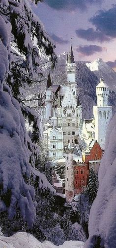 Neuschwanstein Castle in winter A Romanesque Revival palace on a rugged hill above the village of Hohenschwangau near Füssen in southwest Bavaria, Germany. The palace was commissioned by Ludwig II of Bavaria as a retreat and as a homage. Places Around The World, Oh The Places You'll Go, Places To Travel, Places To Visit, Travel Destinations, Travel Europe, European Travel, Wonderful Places, Beautiful Places