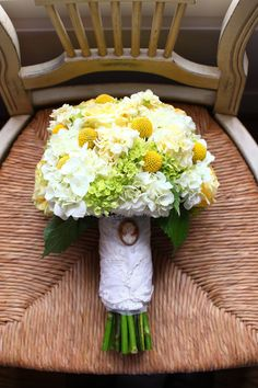 bouquet. hydrangea and billy buttons.