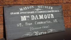 Check out our french decor selection for the very best in unique or custom, handmade pieces from our shops. Space Character, French Signs, Entrance Sign, Paris Decor, French Decor, Hygge, Vintage Decor, Wood Signs, Paint Colors