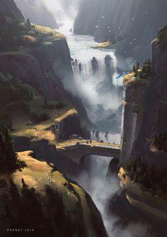 Waterfall castle bridge