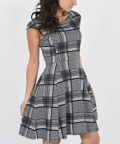 Look at this Black & Ivory Windowpane A-Line Dress on #zulily today!