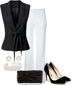 """Black & White Night."" by simplymeg ❤ liked on Polyvore"