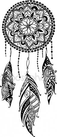 Hand-drawn mandala dreamcatcher with feathers. Ethnic illustration, American tribal symbol. #tattoo #dreamcatcher #inkidea #ad