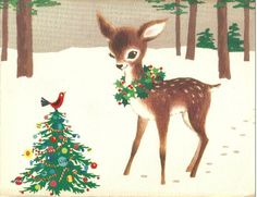 Tree, lights, snow, mistletoe and a beautiful wreath 🎄☃️❄️ . Christmas Deer, Christmas Animals, Christmas Past, Retro Christmas, Christmas Holidays, Christmas Artwork, Vintage Christmas Images, Vintage Holiday, Christmas Pictures