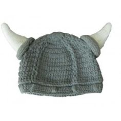 Gorro crochet de casco vikingo para niño o niña. 100% Algodón. ¡Envío