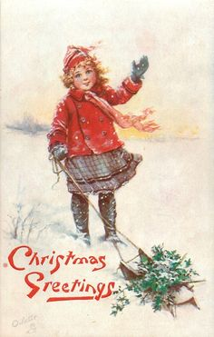 ■ Tuck DB...      girl waves, pulls sled of holly with other hand   artist: F. Brundage (unsigned)   (first used 24/12/1908)