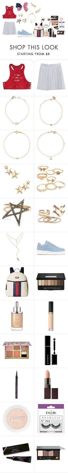"""""""happy 4th of july!!"""" by femalerebell ❤ liked on Polyvore featuring Hollister Co., Estella Bartlett, VANRYCKE, Elsa Peretti, Kenneth Jay Lane, Mudd, Liberty, NIKE, Tommy Hilfiger and Kat Von D"""
