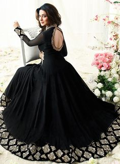 Jennifer Winget Black Faux Georgette Floor Length Anarkali Suit- looks like a kefta from shadow and bone series Black Anarkali, Anarkali Gown, Anarkali Suits, Simple Anarkali, Black Salwar Kameez, Sharara, Saree, Jennifer Winget, Indian Gowns Dresses