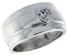 Sterling Silver Wide Band Ring w Heart CZ Available in Sizes 6 to 10 size 6 *** Continue to the product at the image link.