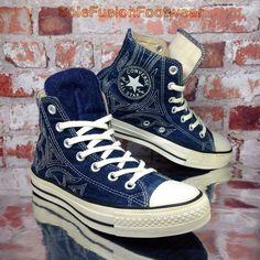 Converse Womens All Star Floral Trainers Blue sz 5 Denim Tattoo Sneakers 37.5 7 | eBay