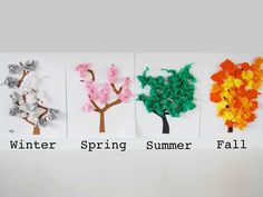 My kids love the changing seasons, they love watching all the leaves change on the trees and I don't blame them, it's my favorite part as well. We decided to make our own changing trees in some four season art.