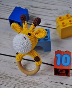Giraffe rattle Baby teether Baby shower Baby toys by ArtHappyShop