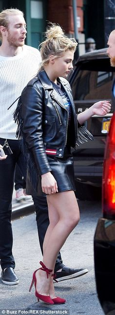Rockin' it: The award-winning actress wore a frayed biker leather jacket and a high-waisted mini skirt, which she teamed with an edgy black T-shirt