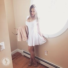 ( 2016 ) ☞ HOT BEAUTIFUL GIRL ☆ CARRIE LACHANCE IN A MINISKIRT AND HIGH HEELS 2016. ) ☞ ☆ Carrie Lachance - ., .