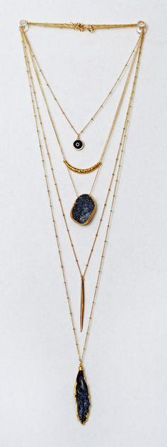 black + gold layered chains | kei