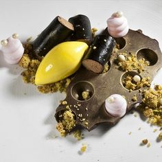 Chocolate mousse, pistachio crumble, rose foam, and saffron ice cream by @genevievemeli #TheArtOfPlating