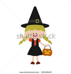 Halloween cute witch  - stock vector