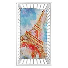 """Perfect for your Baby and Nursery Eiffel Tower Fitted Crib Sheet,Watercolor Painted Linework Eiffel Tower Landmark Colorful Illustrated Microfiber Silky Soft Toddler Mattress Sheet Fitted,28″x 52″x 8"""",Baby Sheet for Boys Girls,Eiffel Tower Fitted Crib Sheet,Watercolor Painted Linework Eiffel Tower Landmark Colorful Illustrated Microfiber Silky Soft Toddler Mattress Sheet Fitted,28""""x 52""""x..."""