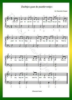 Zachtjes gaan de paardevoetjes - Gratis bladmuziek van kinderliedjes in eenvoudige zetting voor piano. Piano leren spelen met bekende liedjes.